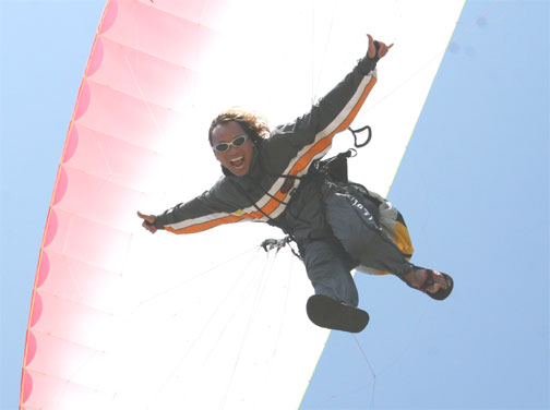 Skydiver Kinsley Wong wearing skydiving sunglasses